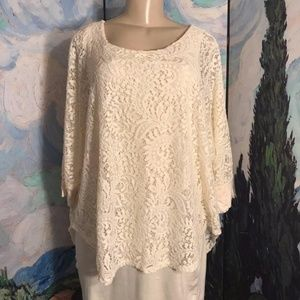 Kate & Mallory Ivory Lace Overlay Lined Tunic Top
